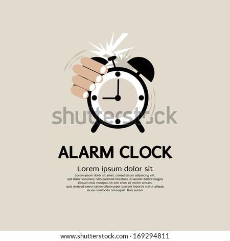 Hand Stop Alarm Clock - stock vector