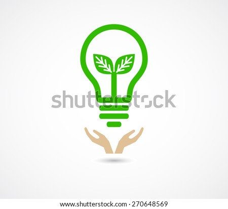 hand support lightbulb green - eco concept background
