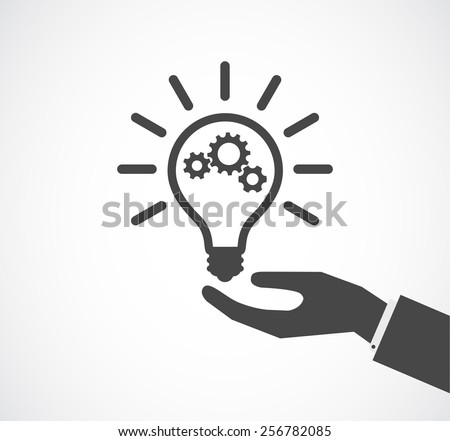 hand support lightbulb with gears design icon - stock vector