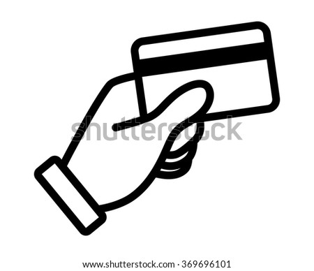 Hand swipe credit card during purchase line art icon for apps and websites - stock vector