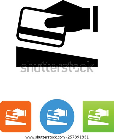 Hand swiping a credit card symbol for download. Vector icons for video, mobile apps, Web sites and print projects. - stock vector