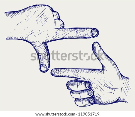 Hand, symbol frame. Doodle style - stock vector