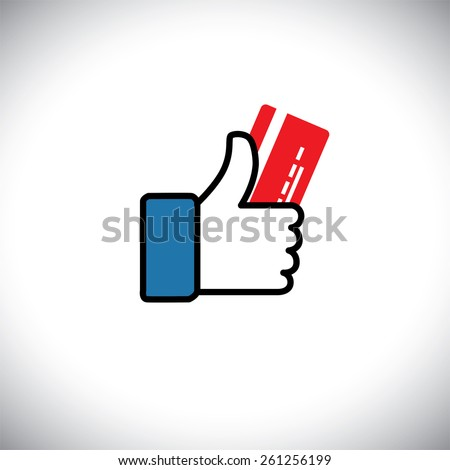 Hand symbol of thumbs up with credit or debit card - vector icon. This graphic also represents plastic money, e-commerce & m-commerce, unsecured load, preloaded cash - stock vector