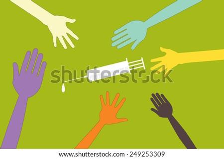 hand syringe  - stock vector