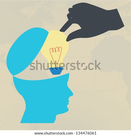 Hand take lightbulb from brain,Steal idea concept,Vector eps10 - stock vector