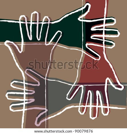 hand teamwork - stock vector