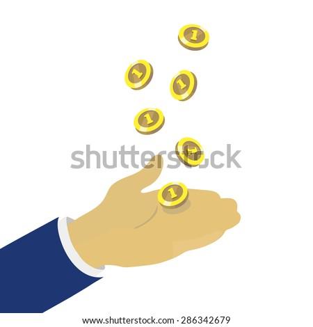 Hand throwing up golden coins, vector concept - stock vector