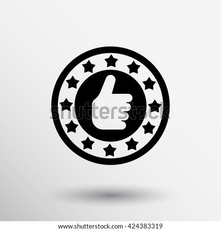 Hand thumb up gesture Vector illustration logo icon award. - stock vector