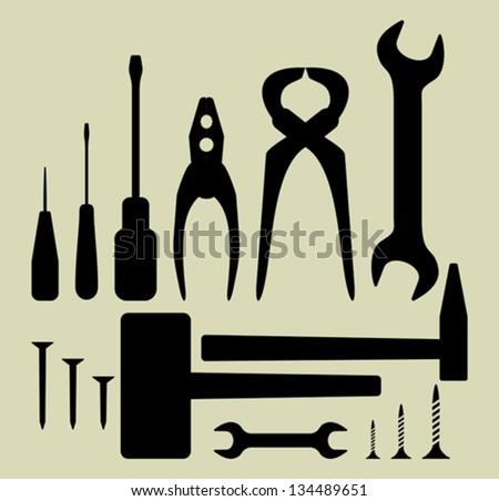 Hand tool silhouette set - stock vector