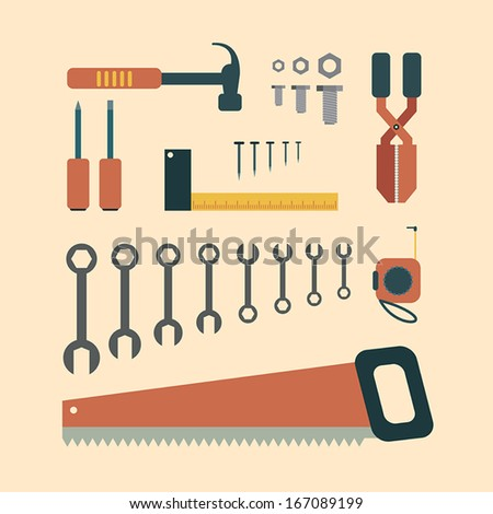 Hand Tools. - stock vector