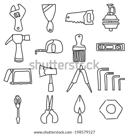 Hand Tools Equipment Icon Line Drawing Stock Vector