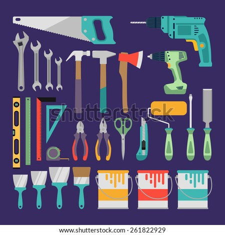 Hand tools icon set.