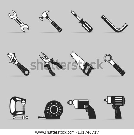 Hand tools icon set in single color. Transparent shadows & background placed on different layers. - stock vector