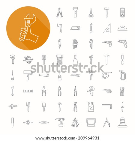 Hand tools icons , thin icon design , eps10 vector format - stock vector