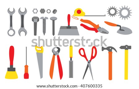 Hand tools set. Screwdrivers, screws, nuts, gears, trowel, paint brush, crimper, measuring tape, chisel, saw, crimper, scissors, and hammers. - stock vector
