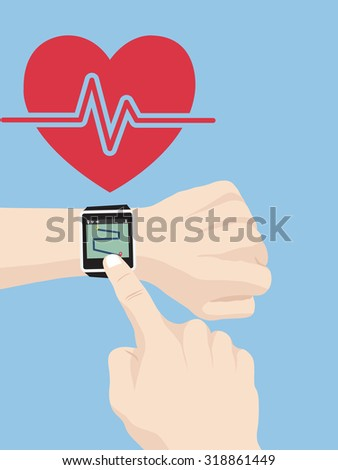 Hand touch smart watch for fitness concept, Vector Illustration EPS 10. - stock vector