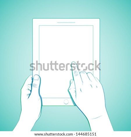 Hand touch tablet gesture. - stock vector