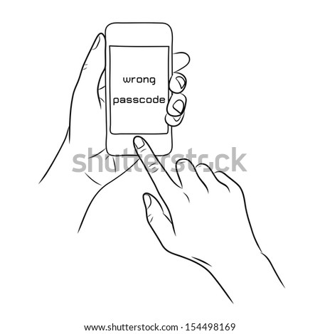 hand touch the home button on Smart Phone - stock vector