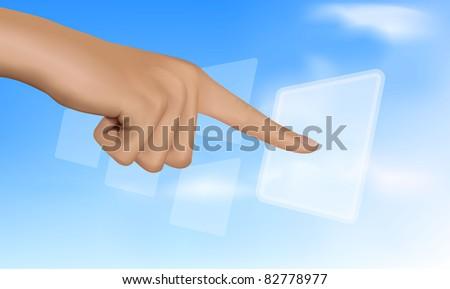Hand touching a button. Solution concept. Vector. - stock vector