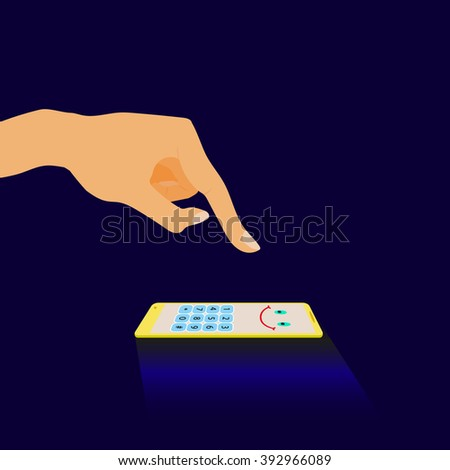 Hand touching a cheerful phone.  Finger reaching for the phone to click on it and the phone lies and smiles. - stock vector