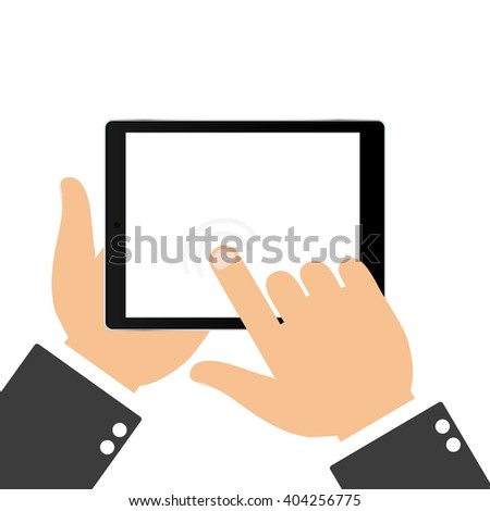 Hand touching blank screen of tablet. Using digital tablet, flat design concept.  Touching the screen with your finger