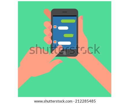Hand touching mobile screen - stock vector
