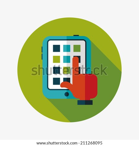 hand touching screen flat icon with long shadow,eps10 - stock vector