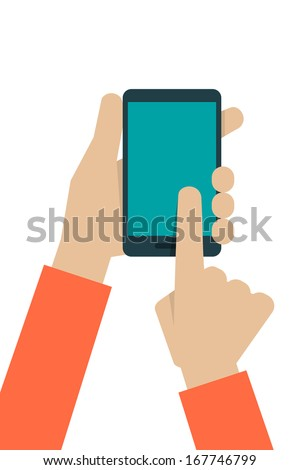 hand touching screen, vector - stock vector