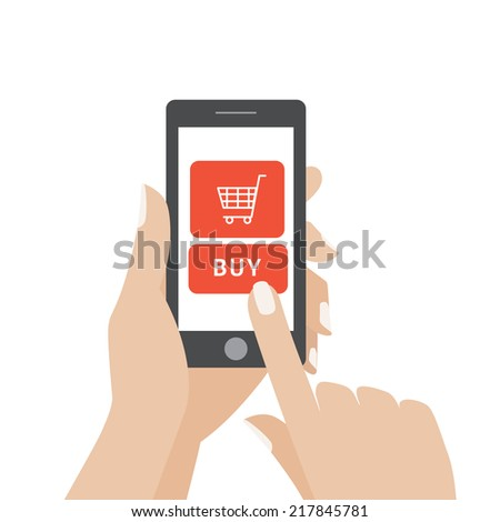 Hand touching smart phone with buy button on the screen. E-commerce flat design concept. Using mobile smart phone for online purchasing. Eps 10 vector - stock vector