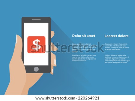 Hand touching smartphone with dollar sign on the screen. Using mobile smart phone, flat design concept. Eps 10 vector illustration - stock vector