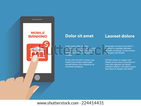 Hand touching smartphone with mobile banking icon on the screen. Using mobile smart phone similar to iphon, flat design concept. Eps 10 vector illustration - stock vector