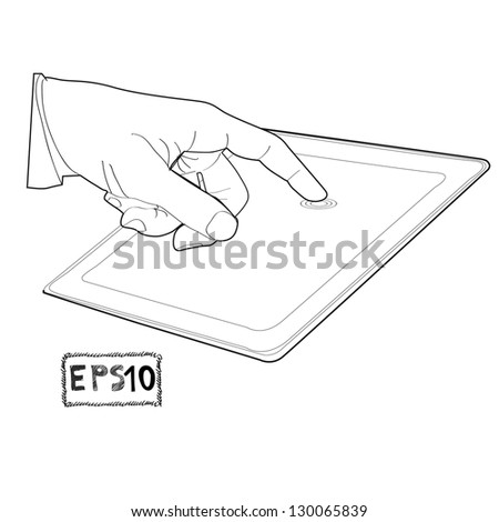 hand touching virtual screen a tablet sketch vector illustration - stock vector