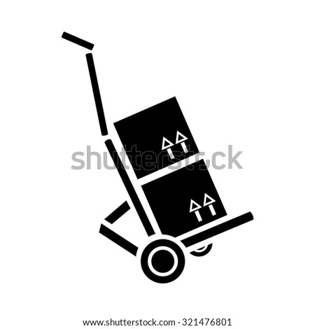 Hand Truck, Dolly Icon - stock vector