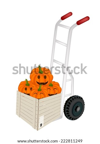 Hand Truck or Dolly Loading Wooden Crate or Cargo Box Full with Jack-o-Lantern Pumpkins and Pumpkin Baskets with Candle Light, Sign For Halloween Celebration.  - stock vector