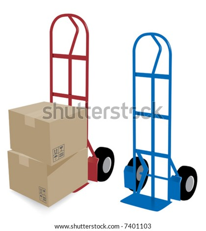 Hand Truck with cardboard boxes. Blue and Red Hand trucks and boxes are whole and can be used seperately. Layered files for easy edit. - stock vector