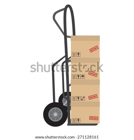 Hand truck with four brown cardboard boxes vector. Boxes with symbols keep dry, sign up, no sun and fragile - stock vector
