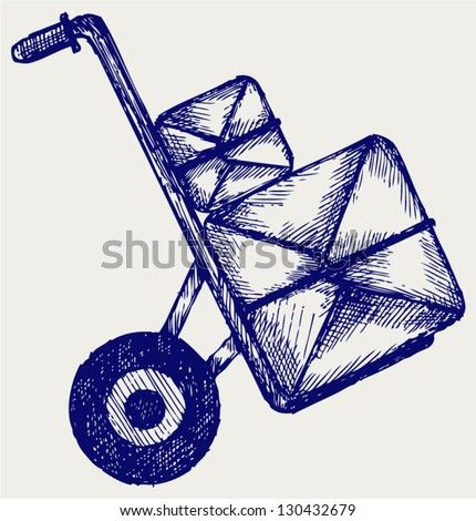Hand truck with post packages. Doodle style - stock vector