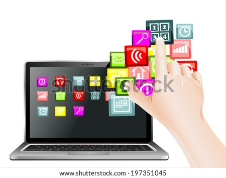 hand use touchscreen laptop with colorful application icons, isolated on white background - stock vector