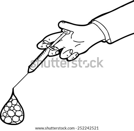 Hand using syringe with generic cells in blood