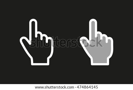 Hand vector icon. White illustration isolated on black background for graphic and web design.