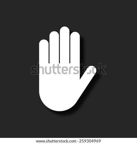 Hand   - vector icon with shadow - stock vector