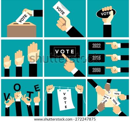 hand vote vector set - stock vector