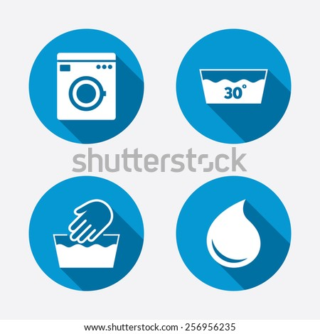 Hand wash icon. Machine washable at 30 degrees symbols. Laundry washhouse and water drop signs. Circle concept web buttons. Vector - stock vector