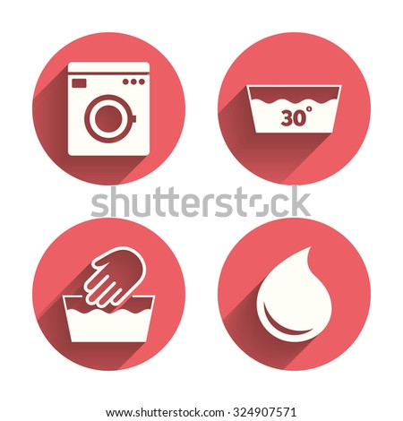 Hand wash icon. Machine washable at 30 degrees symbols. Laundry washhouse and water drop signs. Pink circles flat buttons with shadow. Vector - stock vector