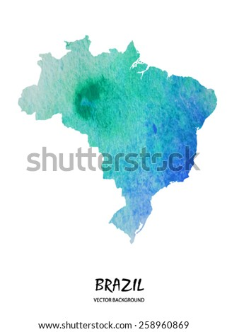 hand watercolor stroke map of Brazil isolated on white. Vector version - stock vector