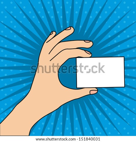 hand whit card over blue background vector illustration - stock vector