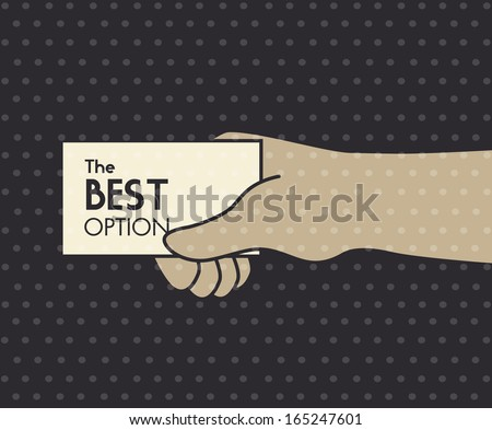 hand whit card over dotted background vector illustration - stock vector