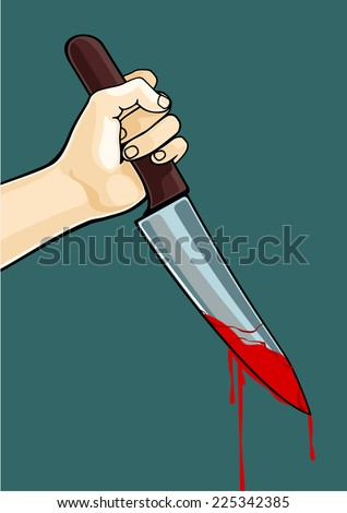 Hand with a blooded knife - stock vector