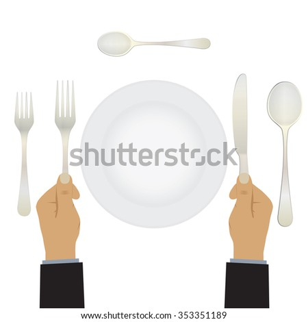 Hand with a knife and fork. Tableware. Table setting. Etiquette. Top view. Elements for design: plate, fork, spoon, knife. - stock vector