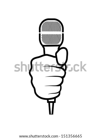 hand with a microphone on a white background - stock vector
